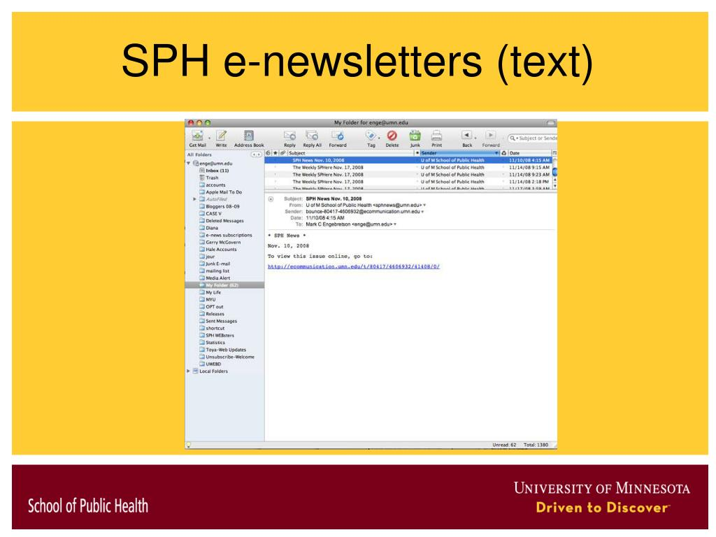 SPH e-newsletters (text)