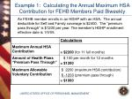 example 1 calculating the annual maximum hsa contribution for fehb members paid biweekly