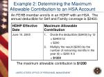 example 2 determining the maximum allowable contribution to an hsa account