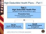 high deductible health plans part 1