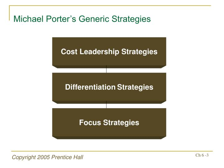 michael porters generic strategies International journal of trade, economics and finance, vol 1, no 2, august, 2010 2010-023x 174 ii literature review porter's generic strategy matrix, which highlights cost.