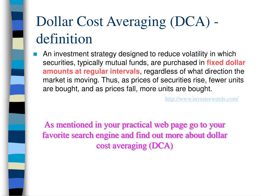 Dollar Cost Averaging (DCA) -definition