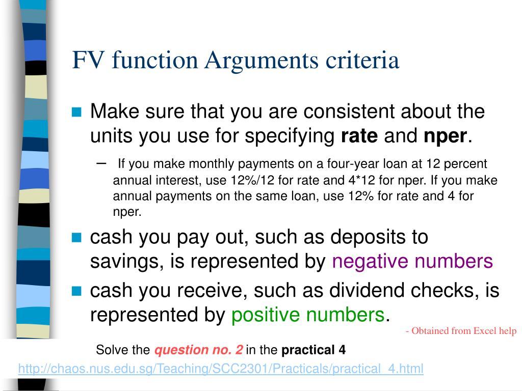 FV function Arguments criteria