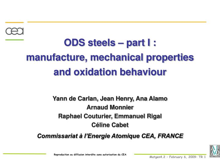 ods steels part i manufacture mechanical properties and oxidation behaviour n.
