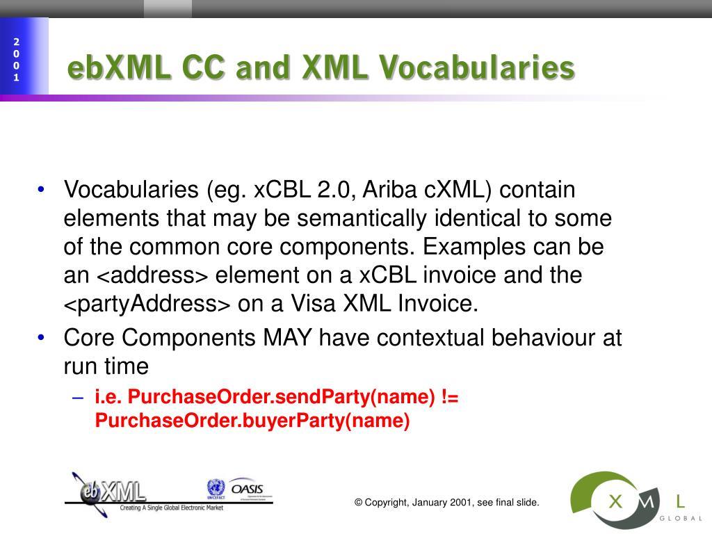 ebXML CC and XML Vocabularies