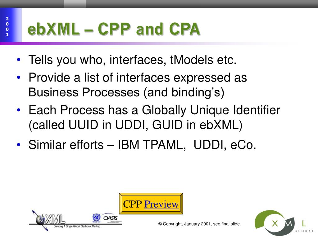 ebXML – CPP and CPA