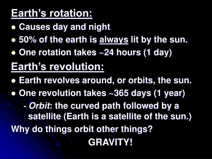 Earth's rotation: