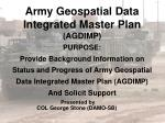 army geospatial data integrated master plan agdimp