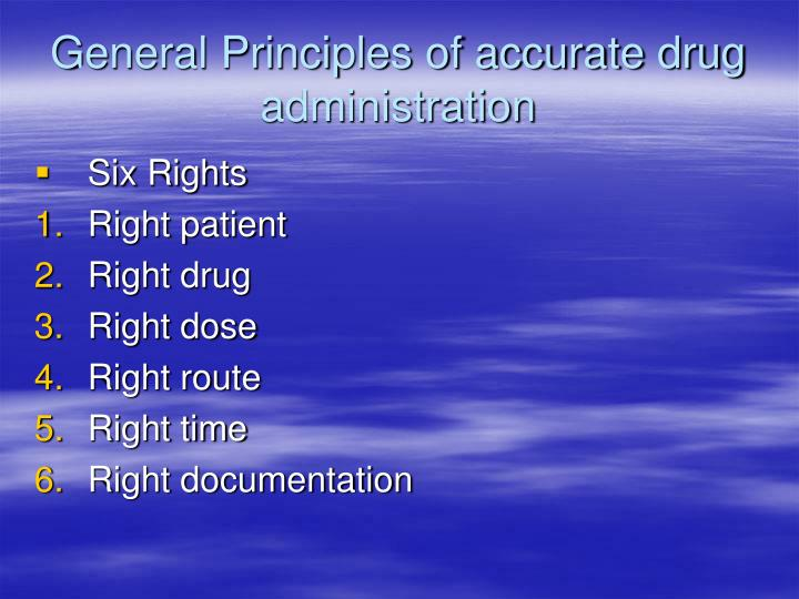 General Principles of accurate drug administration
