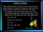 adding dollars