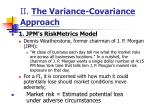 ii the variance covariance approach
