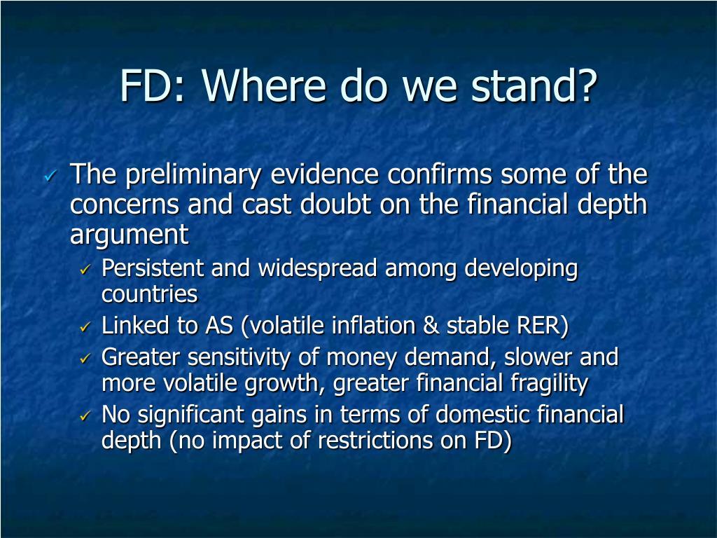 FD: Where do we stand?