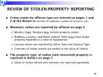 review of stolen property reporting