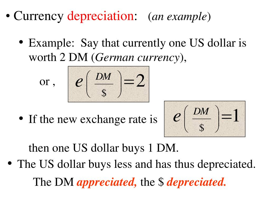 Example:  Say that currently one US dollar is worth 2 DM (