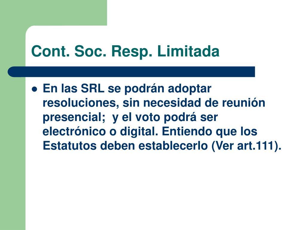 Cont. Soc. Resp. Limitada