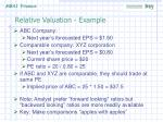 relative valuation example