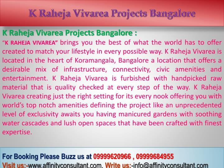K Raheja Vivarea Projects Bangalore