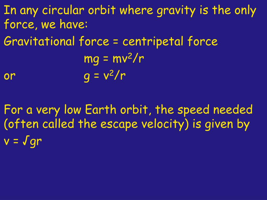 In any circular orbit where gravity is the only force, we have: