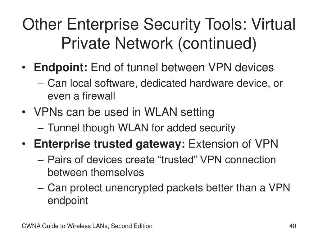 Other Enterprise Security Tools: Virtual Private Network (continued)