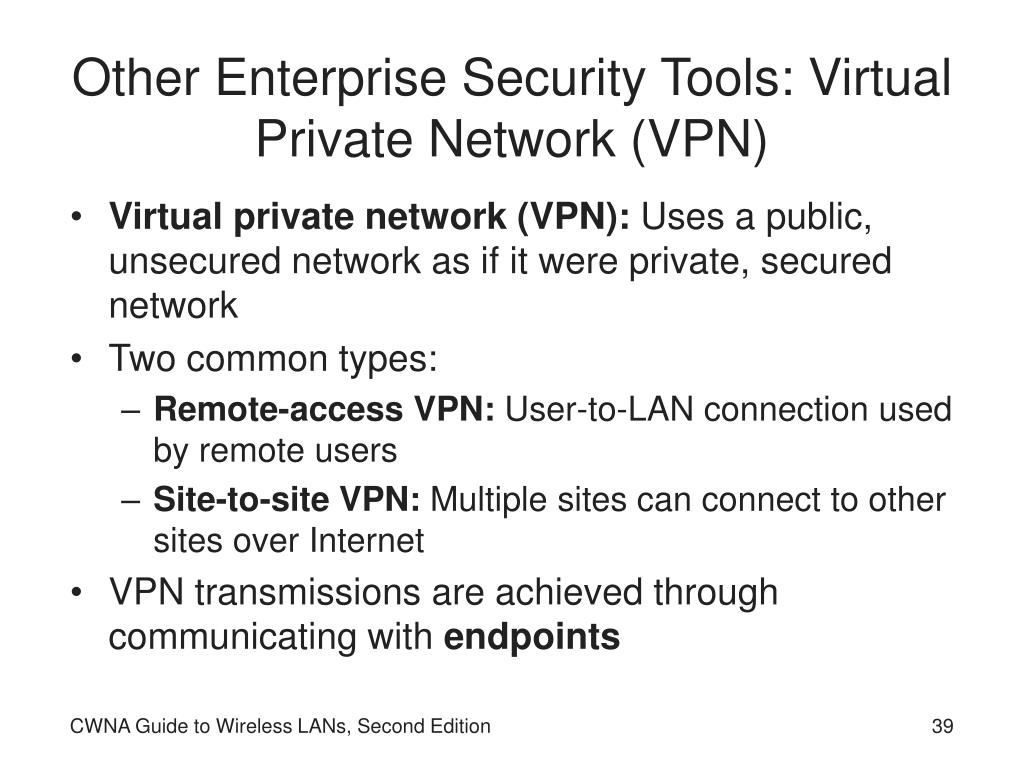 Other Enterprise Security Tools: Virtual Private Network (VPN)