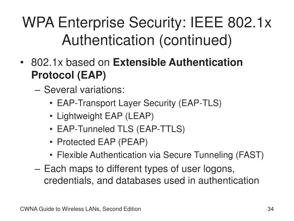 WPA Enterprise Security: IEEE 802.1x Authentication (continued)