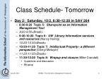 class schedule tomorrow