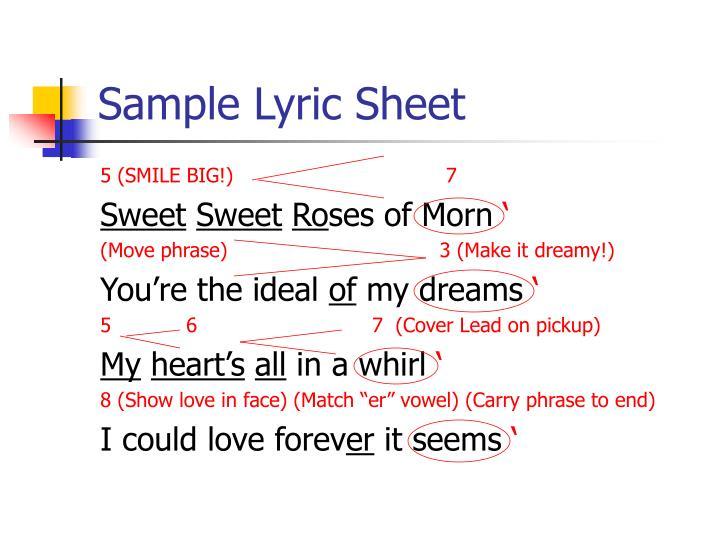 Sample Lyric Sheet