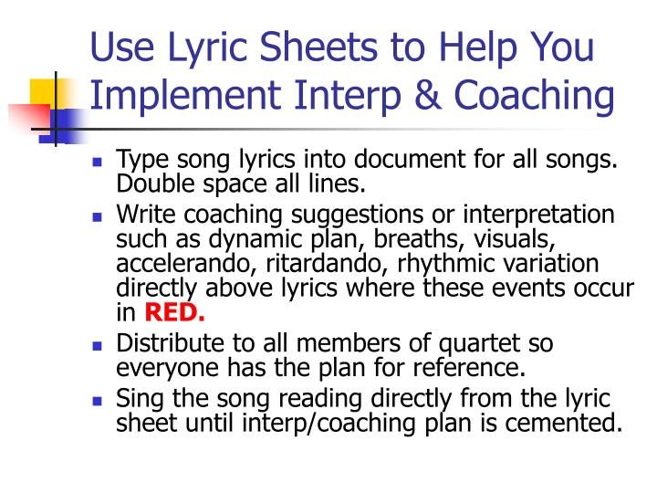 Use Lyric Sheets to Help You