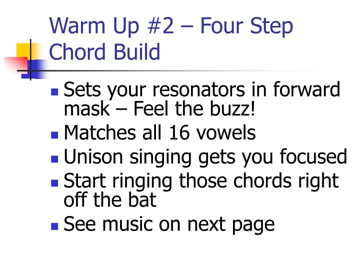 Warm Up #2 – Four Step Chord Build