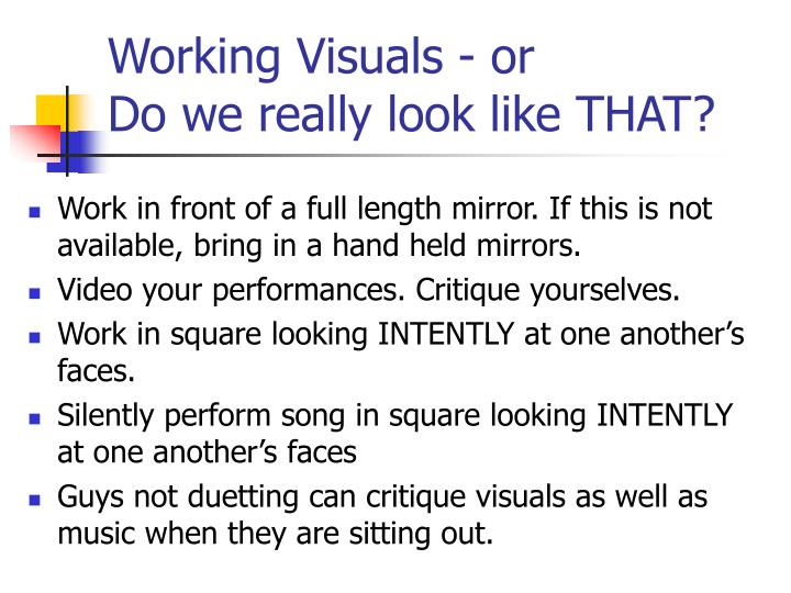 Working Visuals - or