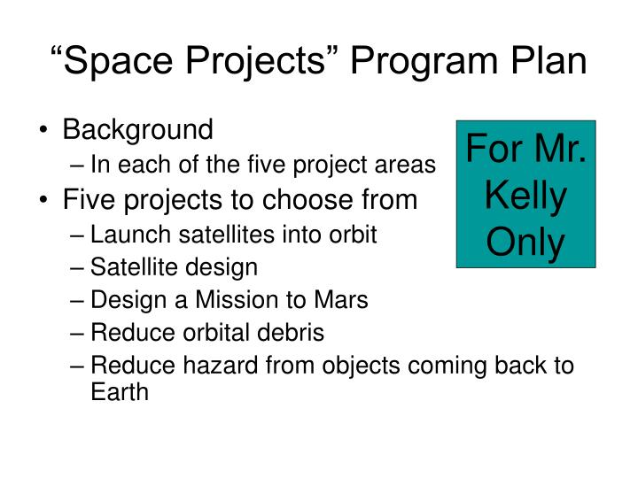 Space projects program plan