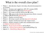 what is the overall class plan