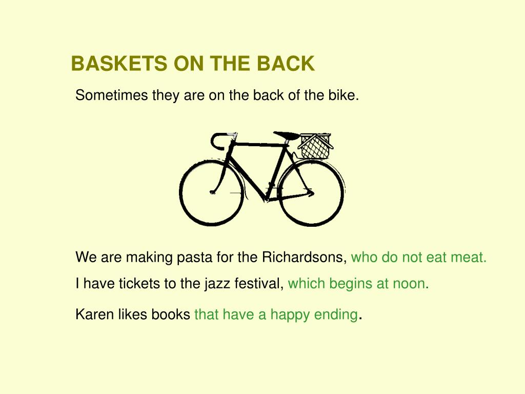 BASKETS ON THE BACK