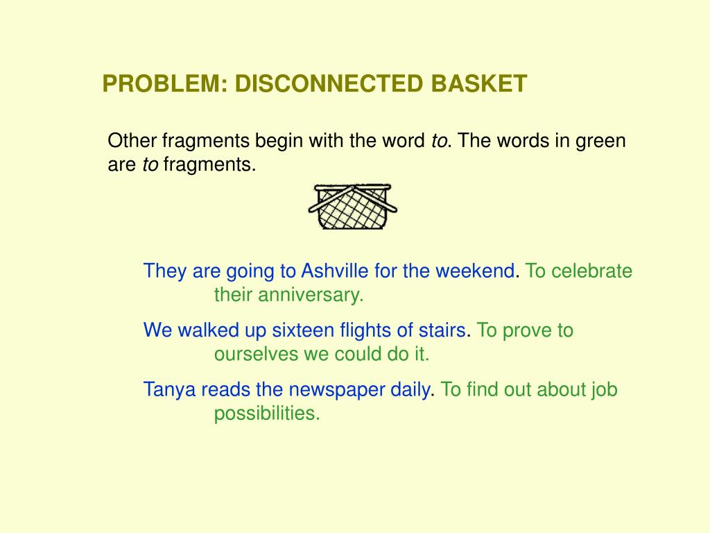 PROBLEM: DISCONNECTED BASKET
