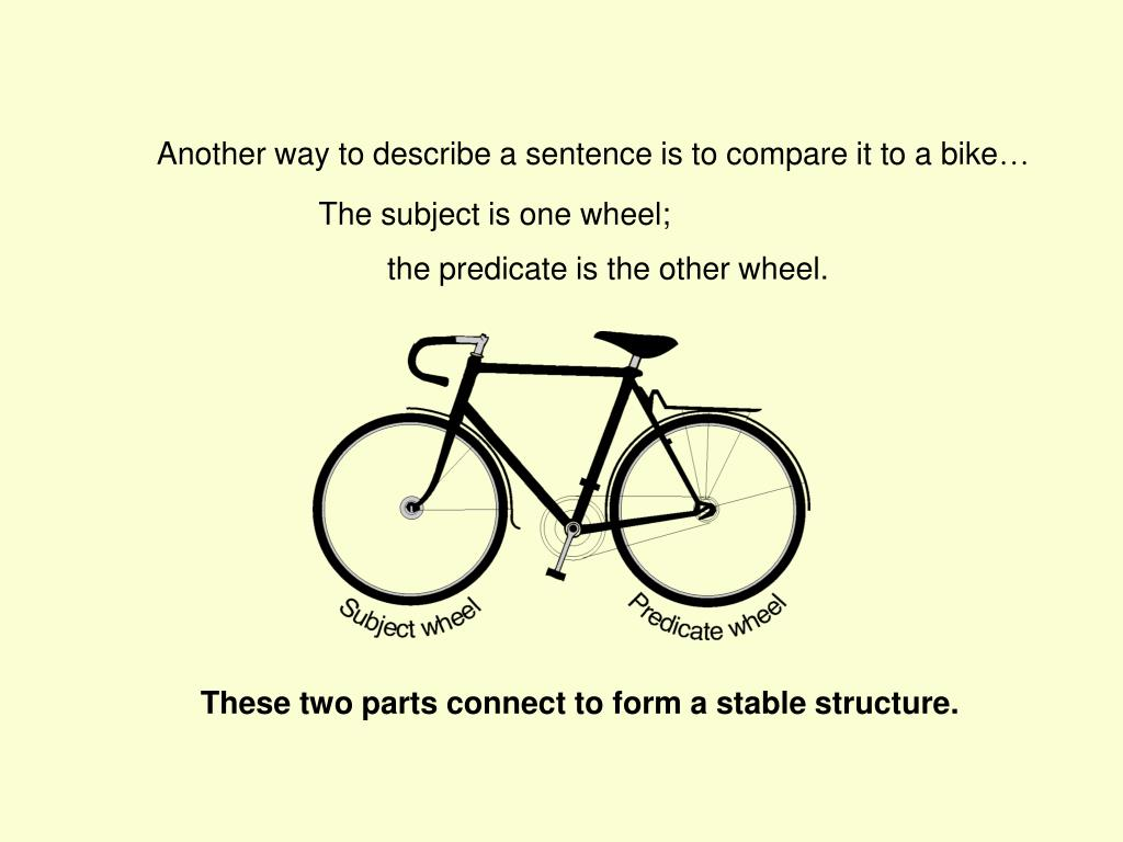 Another way to describe a sentence is to compare it to a bike