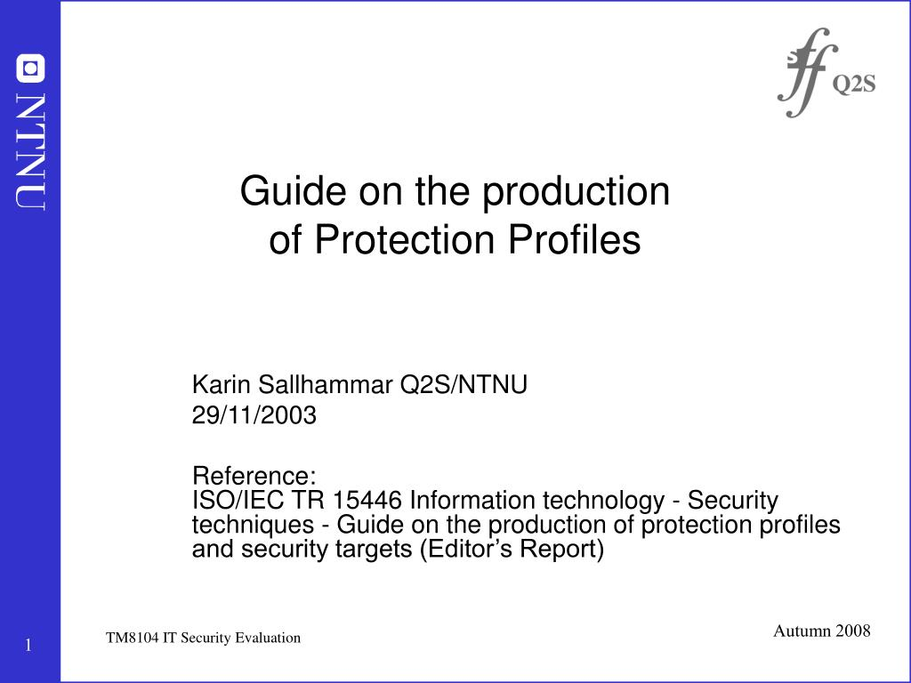 guide on the production of protection profiles l.
