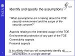 identify and specify the assumptions