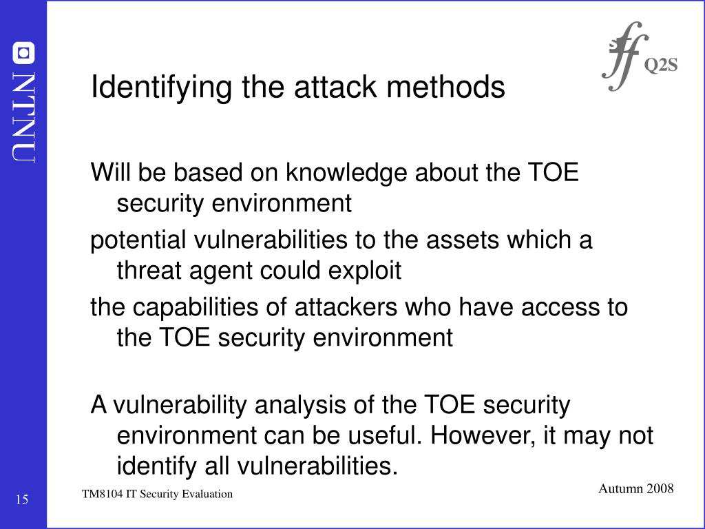 Identifying the attack methods