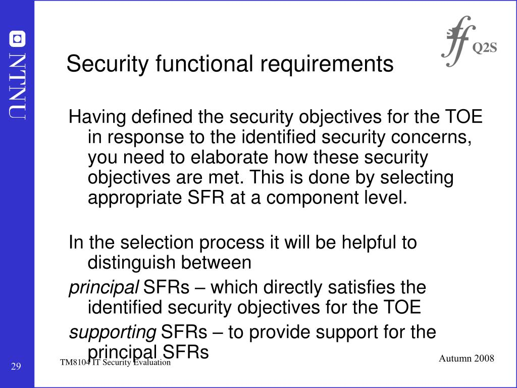 Security functional requirements