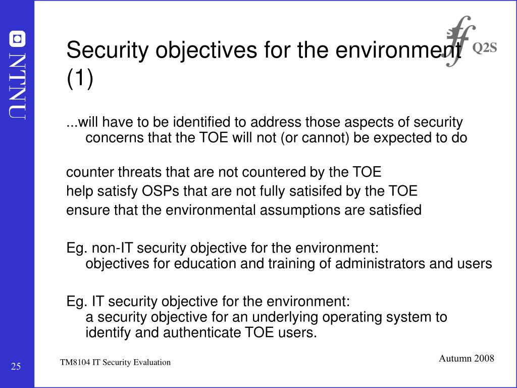 Security objectives for the environment (1)