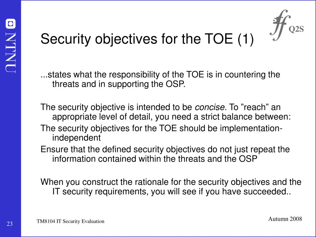 Security objectives for the TOE (1)