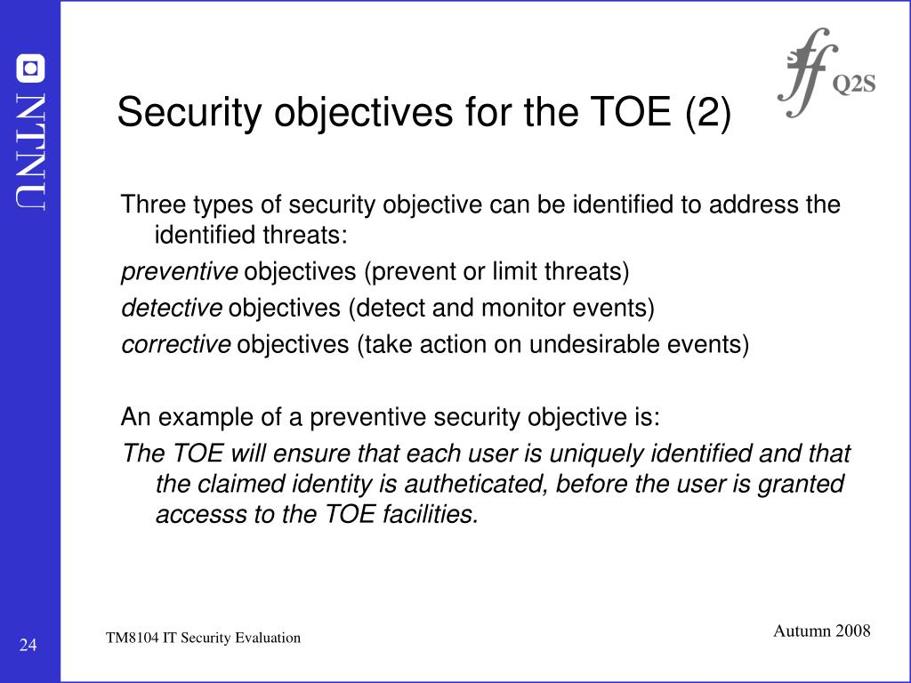Security objectives for the TOE (2)