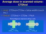 average dose in scanned volume ctdivol
