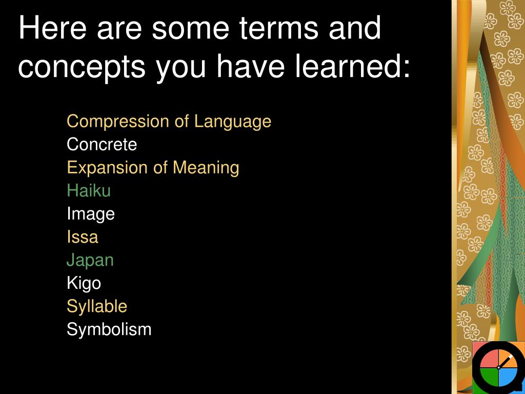 Here are some terms and concepts you have learned: