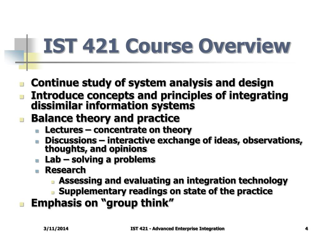 IST 421 Course Overview