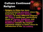 culture continued religion