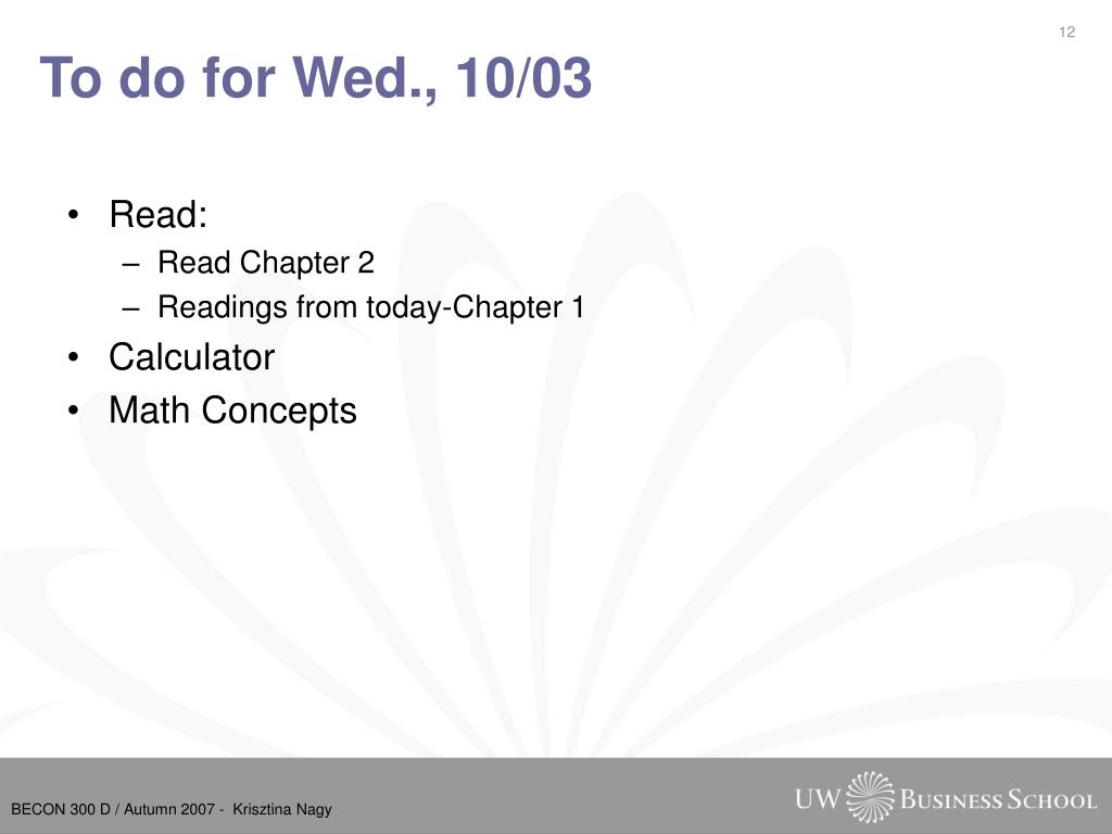 To do for Wed., 10/03