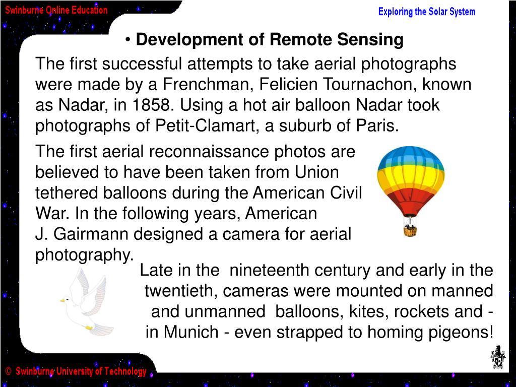 Development of Remote Sensing