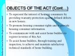 objects of the act cont