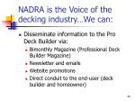 nadra is the voice of the decking industry we can